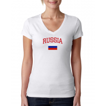 Women's V Neck Tee T Shirt  Country   Russia