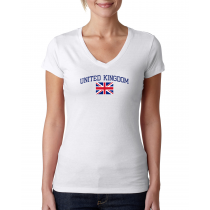 Women's V Neck Tee T Shirt  Country  United Kingdom