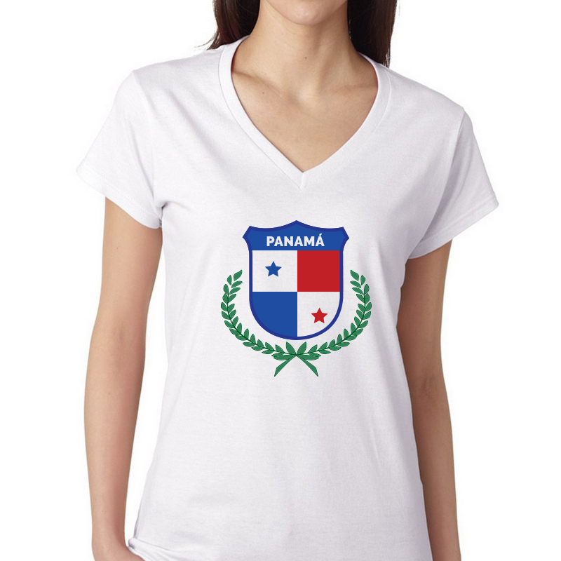 more photos e8735 c2aea Women's V Neck T Shirt Jersey World Cup Country pride Panama Shield