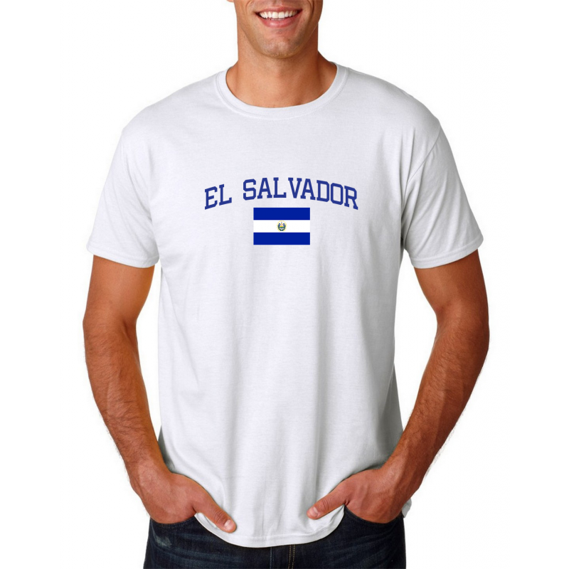 Men's Round Neck  T Shirt Jersey  Country El Salvador