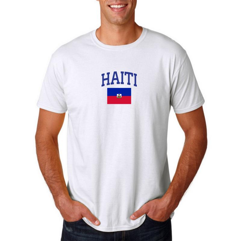 Men's Round Neck  T Shirt Jersey  Country Haiti