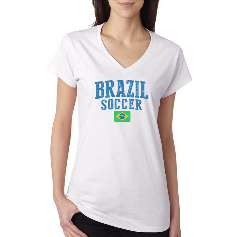 Women's V Neck Tee T Shirt  Country  Brazil