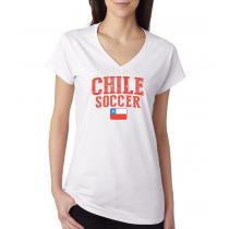 Women's V Neck Tee T Shirt  Soccer  Chile