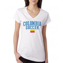 Women's V Neck Tee T Shirt  Soccer  Colombia