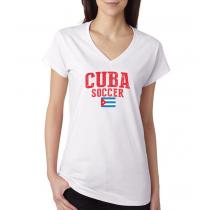 Women's V Neck Tee T Shirt  Soccer  Cuba