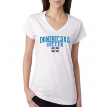 Women's V Neck Tee T Shirt  Soccer  Dominicana