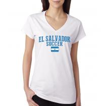 Women's V Neck Tee T Shirt  Soccer   El Salvador