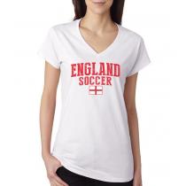 Women's V Neck Tee T Shirt  Soccer England