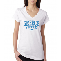 Women's V Neck Tee T Shirt  Soccer Greece