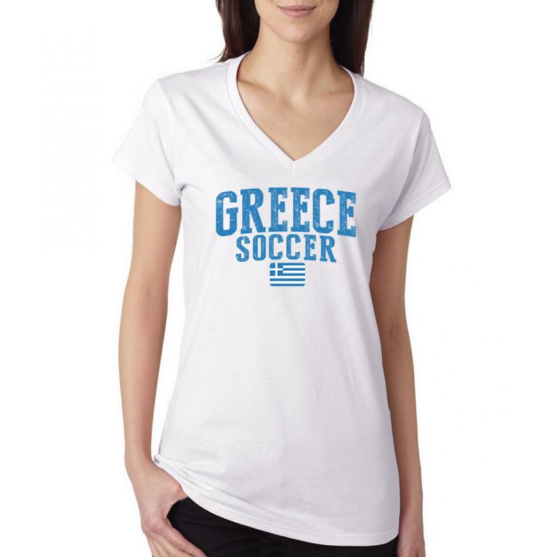 Women's V Neck Tee T Shirt  Soccer Greece
