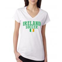 Women's V Neck Tee T Shirt  Soccer  Ireland