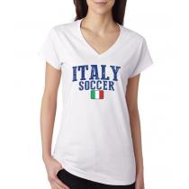 Women's V Neck Tee T Shirt  Soccer Italy