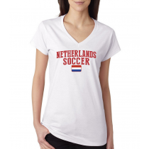 Women's V Neck Tee T Shirt  Soccer Netherlands