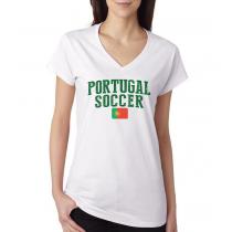 Women's V Neck Tee T Shirt  Soccer Portugal