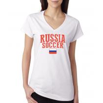 Women's V Neck Tee T Shirt  Soccer  Russia