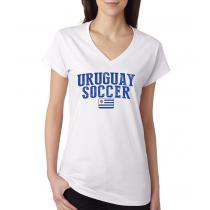 Women's V Neck Tee T Shirt  Soccer Uruguay