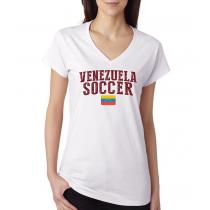 Women's V Neck Tee T Shirt  Soccer  Venezuela