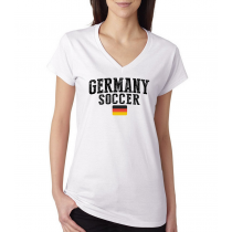 Women's V Neck Tee T Shirt  Soccer  Germany