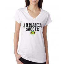 Women's V Neck Tee T Shirt  Soccer  Jamaica