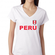 Women's V Neck Tee T Shirt Country pride Peru Shield