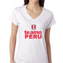 Women's V Neck Tee T Shirt Country pride Te amo Peru