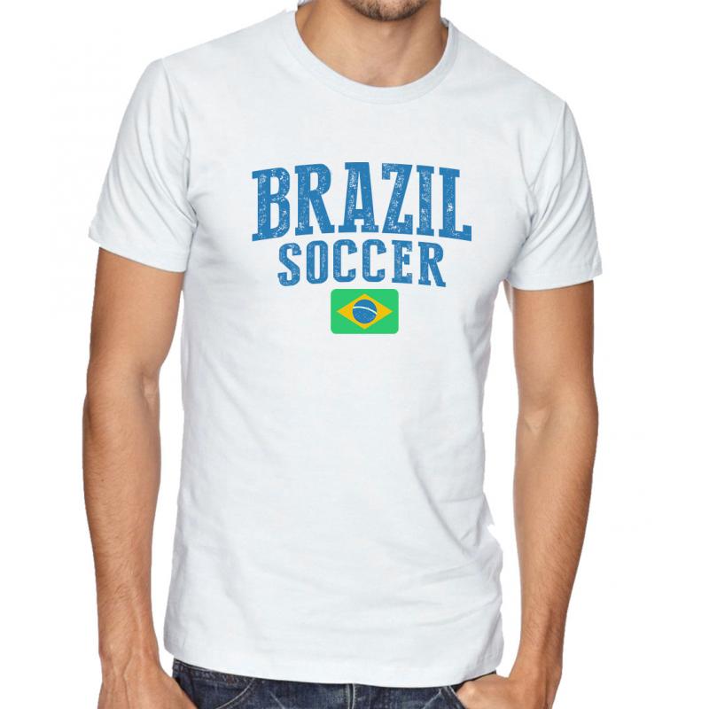 Men's Round Neck Tee T Shirt  Soccer Brazil