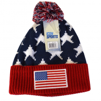 United States Adult's Pom Beanie Flag and Stars