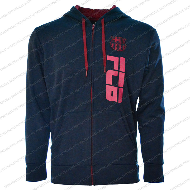 FC Barcelona Men's Adult  Zip Up Jacket Navy - Side Logo