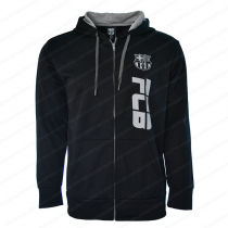 FC Barcelona Men's Adult  Zip Up Jacket Black - Side Logo