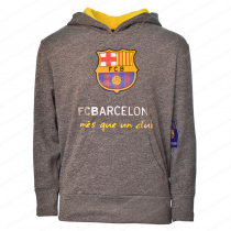 FC Barcelona Youth  Hoodie Jacket Gray Big Logo