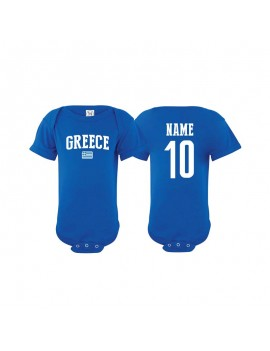 Greece flag country Baby Soccer Bodysuit