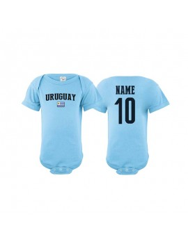 Uruguay flag country world cup Baby Soccer Bodysuit