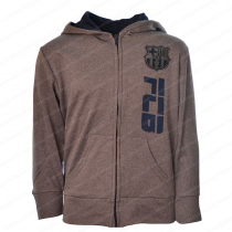 FC Barcelona Youth Zip Up Jacket Gray - Side Logo