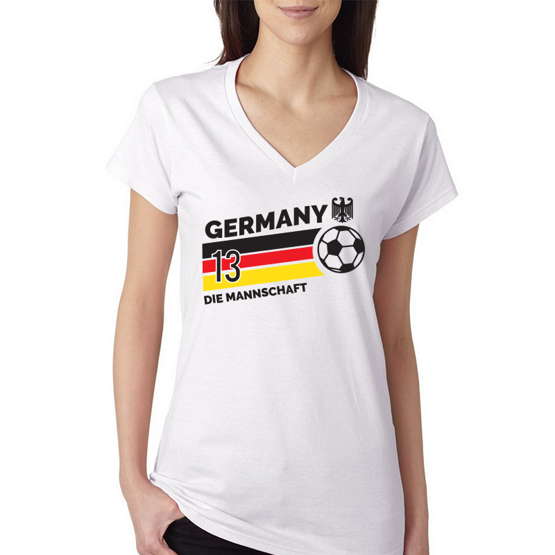Germany Women's V Neck Tee T Shirt  Jersey  13 ball  Available colors, heather gray, white and other colors as you request.