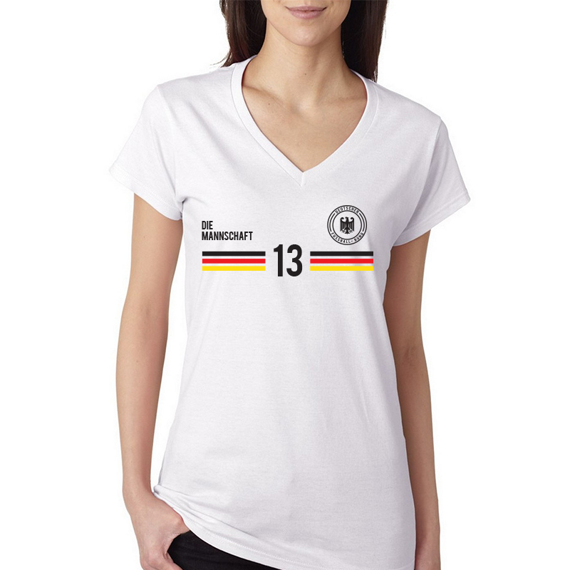 Germany Women's V Neck Tee T Shirt  Jersey13 shield 