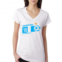 Argentina Women's V Neck Tee T Shirt  Jersey 10 ball  Available colors, heather gray, white and other colors as you request.