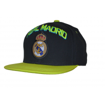 Real Madrid Adult's Cap Snap back Hat Black Big Logo Neon Letters