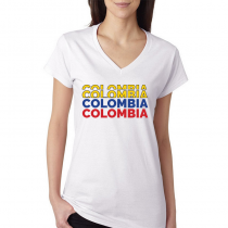 Colombia Women s V Neck Tee T Shirt Colombia letters Available colors 91a4073f3