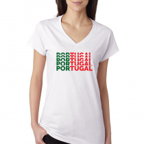 Portugal Women's V Neck Tee T Shirt  Portugual letters