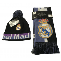 Real Madrid Blue Scarf Reversible Black/Purple Beanie Pom Set