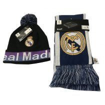 Real Madrid Black Scarf Reversible Black/Purple Beanie Pom Set