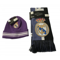 Real Madrid Adult's Blue Scarf Reversible Purple Beanie Set