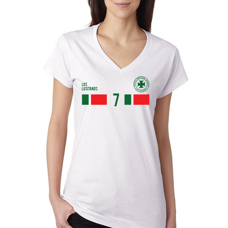 Portugal Women's V Neck Tee T Shirt Jersey   7 shield