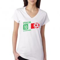 Italy Women's V Neck Tee T...