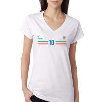 Italy Women's V Neck Tee T Shirt Jersey   10 Shield