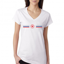 Russia Women's V Neck Tee T Shirt Jersey Shield