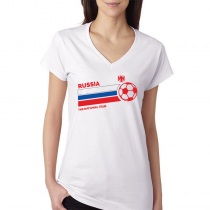 Russia Women's V Neck Tee T...