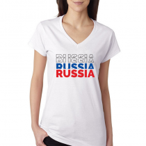 Russia Women's V Neck Tee T...