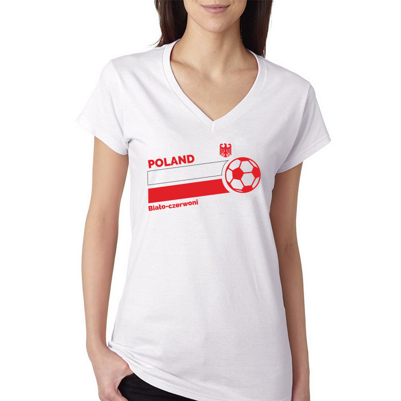 Poland Women's V Neck Tee T Shirt Jersey Biato ball  Available colors, heather gray, white and other colors as you request.