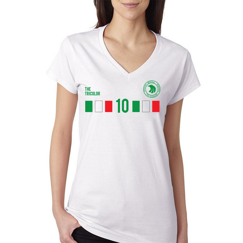 Mexico Women's V Neck Tee T Shirt Jersey  10 shield  Available colors, heather gray, white and other colors as you request.